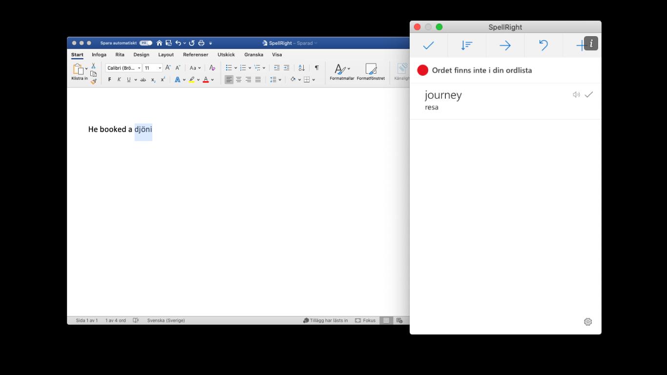 SpellRight för Word Online fungerar även i Word för macOS, Windows och iPad
